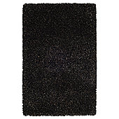 Husain International Plain Black / Grey Shag Rug - 150cm x 90cm (4 ft 11 in x 2 ft 11.5 in)