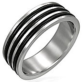 Urban Male Stainless Steel & Triple Black Resin 8mm Men's Ring