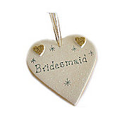 Bridesmaid Gold Sparkle Heart Wedding Keepsake Large