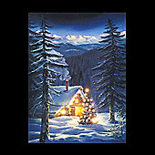 LED Cabin in the wood Wall Canvas