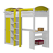 Maximus High Sleeper Set 1 Central Ladder White With Lime Details