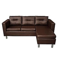 Homcom Faux Leather Sofa 3 Seaters w/ Cushion Brown