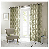 Woodland Lined Eyelet Curtains - Green
