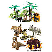 Deadly 60 Bundle - Jungle Playset And Deadly 60 Micro Figures - Bear, Lioness, Cobra, Wolf, Walrus - 2 Items Supplied