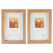 "Tesco Photo Frame Oak Effect 2pk 4""x6"""