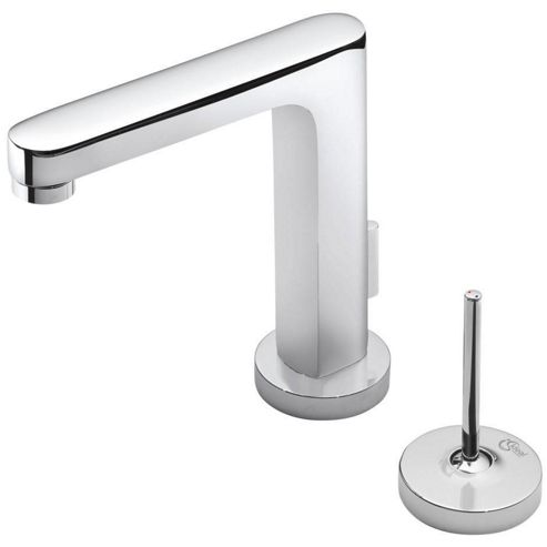 Ideal Standard Simply U 2 Tap Hole Rectangular Spout Basin Mixer Tap with 2 Round Backplates