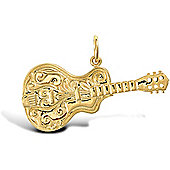 Jewelco London 9ct Solid gold casted Cowboy Guitar Pendant assembled by hand