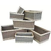 Wicker Valley Dark Green Storage Baskets (Set of 7)
