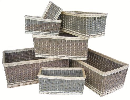 Wicker Valley Dark Green Storage Baskets (Set of 7)