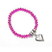 Hot Pink Crystal Bracelet with Hammered Heart Droplet