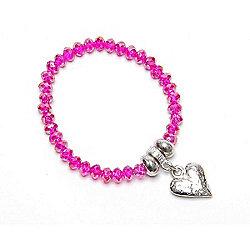Hot Pink Crystal Bracelet with Hammered Heart Droplet