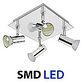 Square Four Way LED Ceiling Spotlight in Chrome