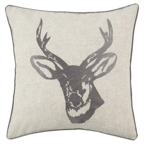 Stag Head Cushion Silver