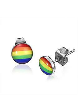 Urban Male Colourful Rainbow Stripe Design Resin & Stainless Steel Mens Stud Earrings 7mm