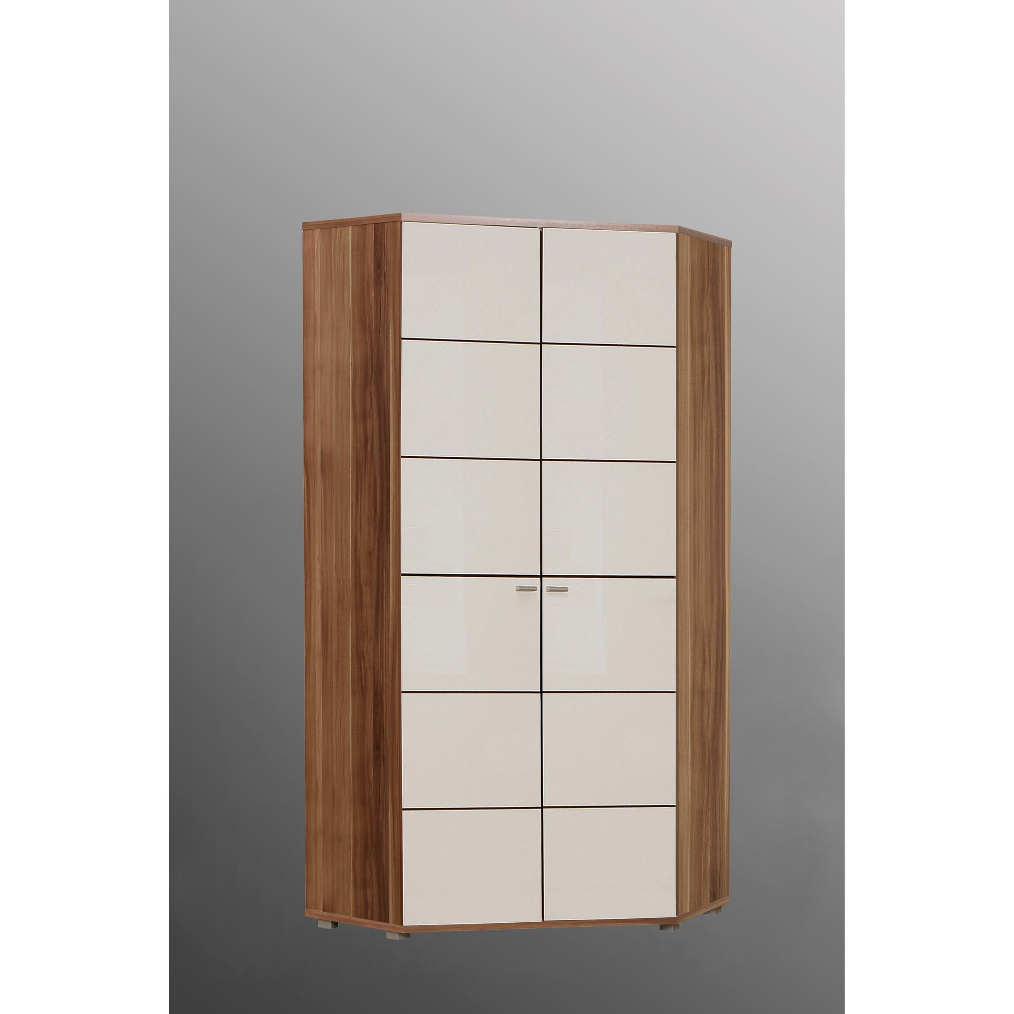 Ideal Furniture Anemone Corner Wardrobe - Walnut White Gloss at Tesco Direct