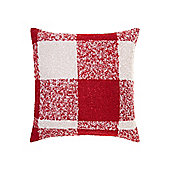 Linea Woven Check Cushion In Red