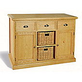 Ultimum Somerset Oak Sideboard 3 Drawers 2 Doors 2 Baskets