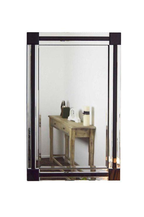 Buy silver black frameless modern venetian mirror for Black venetian mirror