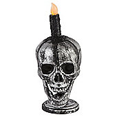 Halloween Skull With Flickering Candle