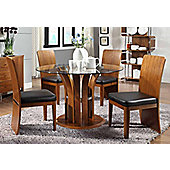 Jual JF601 Walnut Table and 4 Chairs