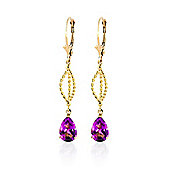 QP Jewellers 3.0ct Pink Topaz Sceptre Earrings in 14K Gold