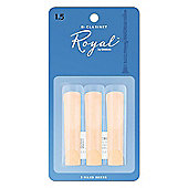 Rico Royal 1 1/2 Bb Clarinet Reeds (x3)