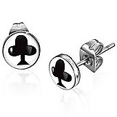 Urban Male Playing Card Club Symbol Stainless Steel Stud Earrings 7mm