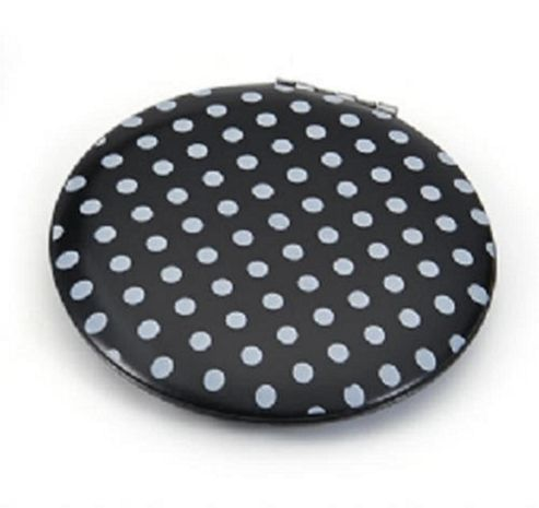 Black and White Dotted Compact Mirror