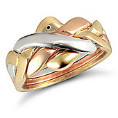 Jewelco London 9ct Yellow,white & rose Gold hand assembled 4 Piece Puzzle Ring