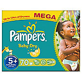Pampers Baby Dry Size 5+ Mega Pack - 70 nappies