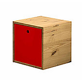 The Cube a multi-purpose storage unit in Antique and Red