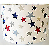 Star Fabric Lampshade / Lightshade Large Red Blue Grey Stars