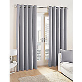 Cuba Ready Made Lined Eyelet Curtains - Silver
