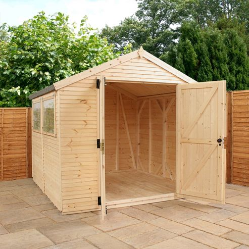 Buy mercia ultimate apex wooden shed 14x8ft from our for Garden shed tesco