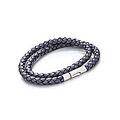 Tribal Steel Mens Denim Blue Leather Rocker Clasp Wraparound Bracelet