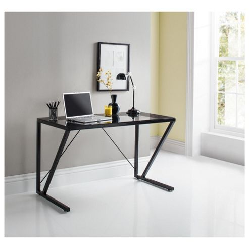 Buy paze glass desk black from our office desks tables range tesco - Tesco office desk ...