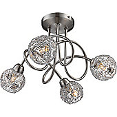 Home Essence Sinclair 4 Light Semi-Flush Ceiling Light in Nickel Matte