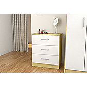 Cannes 3 drawer chest oak colour frame & white drawers