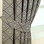 Homescapes Grey Jacquard Tie Back Pair Abstract Aztec Design