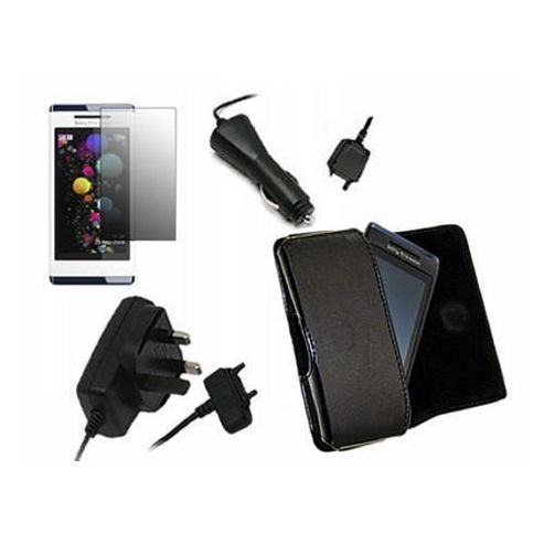 iTALKonline LCD Screen Protector, Car Charger, Mains Charger, Side Pouch Black - For Sony Aino