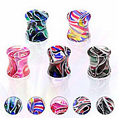 Pack of Five Acrylic Multi Colour Marble Effect Ear Stretching Flesh Plugs 10mm