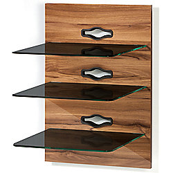 VCM Xeno-3 Wall Furniture with 3 Glass Shelves and Media Storage - Milano Varnish / Black Glass