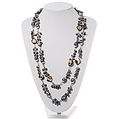 Ash Grey Shell & Pearl Style Bead Long Necklace - 150cm Length