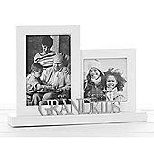 Grandkids - Double Decorative Freestanding Photo Frame - White / Silver