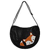 Peeking Baby Fox Leather Shoulder Bag Black