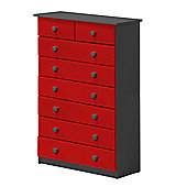 Verona Drawer Chest 6 + 2 Colour Graphite and Red