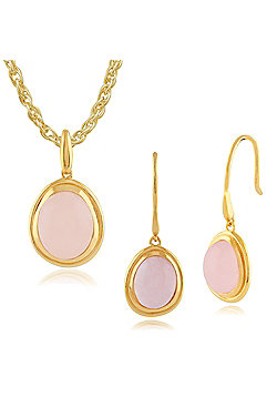 Gemondo Rose Quartz 'Tara' Pastel Gold Plated Silver Drop Earring & 45cm Necklace Set