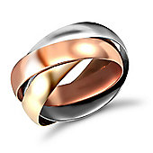 Jewelco London 9ct Yellow,white & rose Gold hand assembled 4mm Russian Wedding Ring