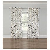 Poppy Print Lined Eyelet Curtains, Heather (66 x 54'') - Natural