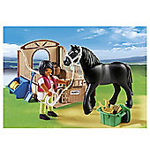 Playmobil Country Black Stallion With Stall